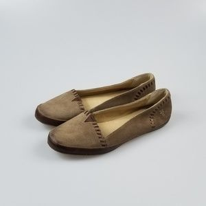Frye Flats Slip On Leather Brown Round Toe Tan